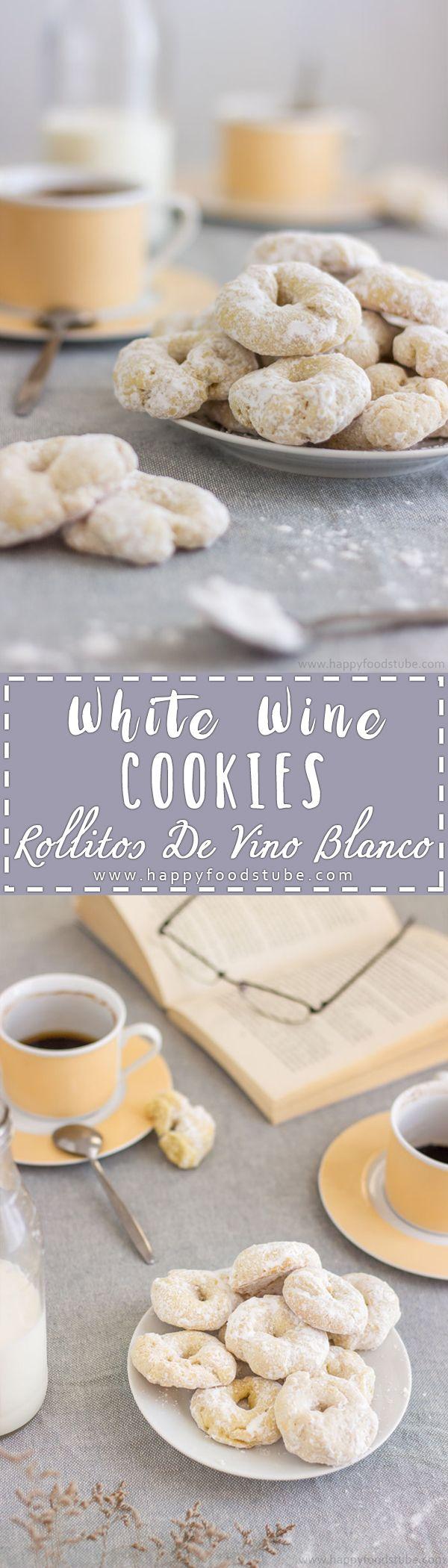 White Wine Cookies - Rollitos de Vino Blanco are delicious sweet treats! Homemade Spanish dessert recipe | happyfoodstube.com