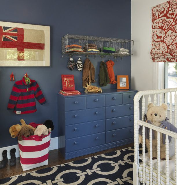 love this boys blue and red nursery