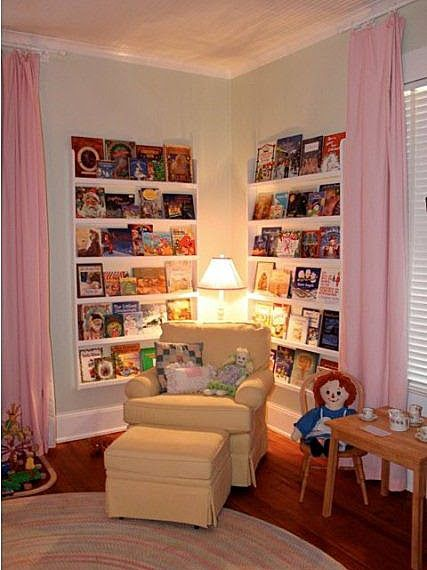 Like narrow shelves with book covers facing out. Perfect child reading nook. (alternative: regular depth shelves with temporary backs. convert bookshelf from this to regular shelves as the children grow)
