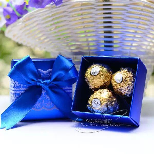 婚庆用品 创意喜糖盒 喜糖盒子 礼品盒 婚礼喜盒 糖果盒 宝蓝