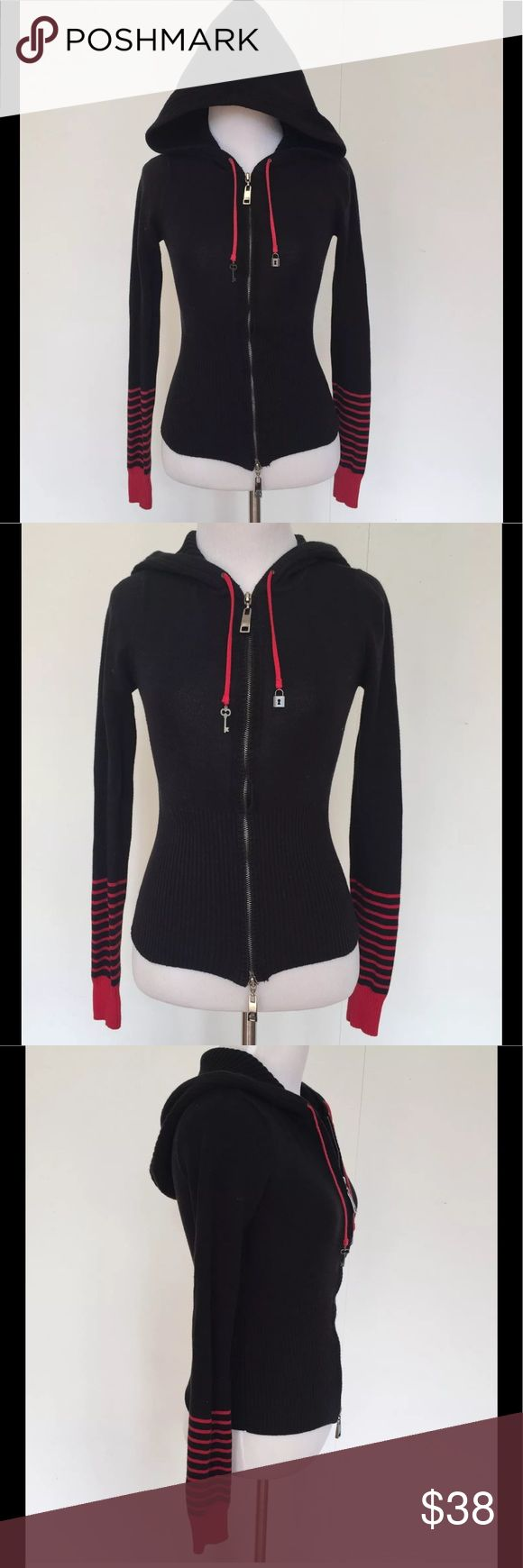 """Jennifer Lopez JLO Black Red Zip Up Hoodie S Jennifer Lopez JLO Black Red Striped Knit Zip Up Hoodie Jacket Retro Striped S  Retro JLo hoodie! Thick knit bottom, hood and sleeves. Striped red and black sleeves. Double zipper and drawstrings with charms on the end.   Size: Small Bust (flat): 14.5""""  Length (from shoulder): 25""""  Sleeve (from armpit) 19.5""""   91% Cotton. 9% Nylon.  Please check out more hoodies and jackets in my closet! :) Jennifer Lopez Tops Sweatshirts & Hoodies"""
