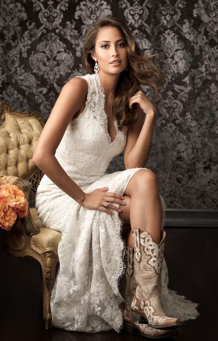 Simple country style wedding dresses with boots trends for Wedding dresses with cowboy boots