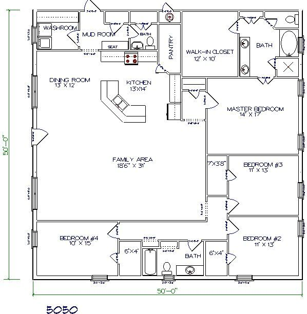 Barndominium Floor Plan 4 Bedroom 2 Bathroom 50x50 A Starting Point Would Expand To 50 Barn Homes Floor Plans Pole Barn House Plans Barndominium Floor Plans