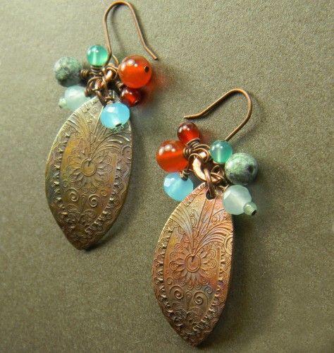 Paisley Leaf Earrings Copper, Carnelian, Chalcedony Handmade OOAK, $39, by Chrysalis Jewelry on ArtFire