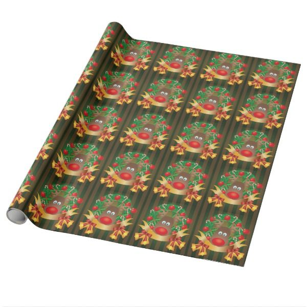 Sally Foster Gift Wrap Part - 43: Reindeer In Christmas Wreath Illustration Wrapping Paper #giftwrap  #christmas #wrappingpaper