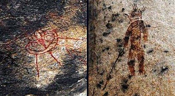 Charama Cave India - Images of aliens dating back 10 thousand years