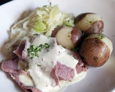 Corned Beef and Cabbage with White Wine Mustard Sauce