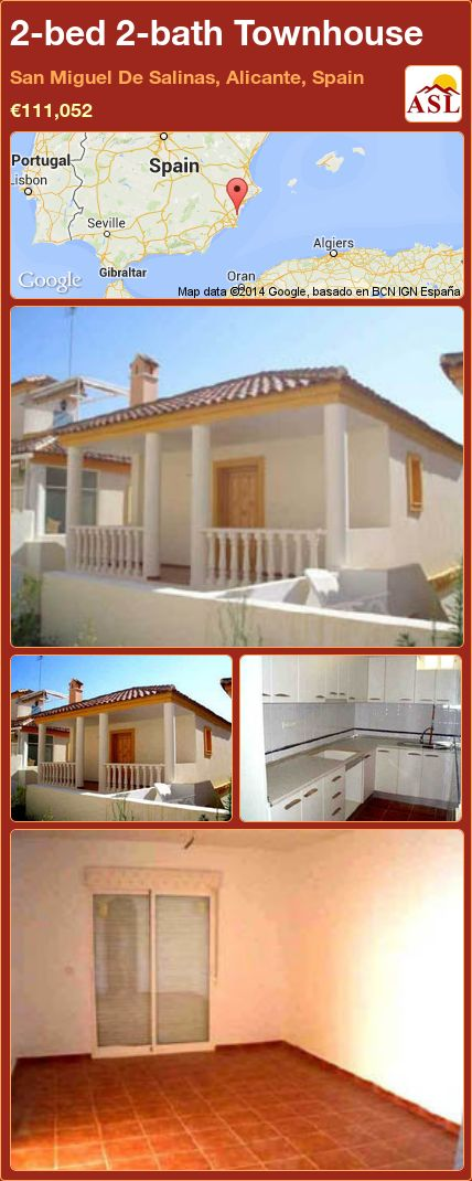 2-bed 2-bath Townhouse in San Miguel De Salinas, Alicante, Spain ►€111,052 #PropertyForSaleInSpain