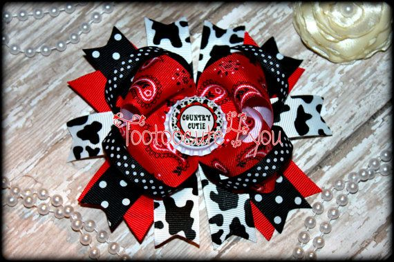 Country Cutie Boutique Hair Bow  Bandana by PinkHairBowBoutique