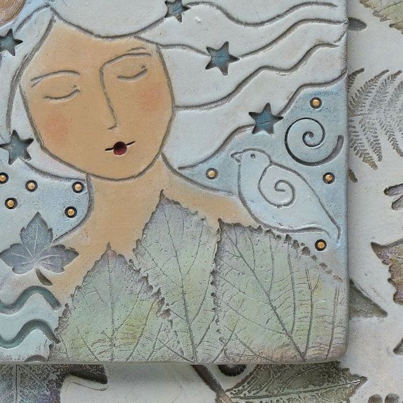 Ceramic Wall Art, Woman,Home Decor, Moonlight Meditation,Nature Inspired,  Hand Made