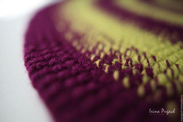 Купить Orchid black ковер круглый вязаный ручная работа - тёмно-фиолетовый, лиловый