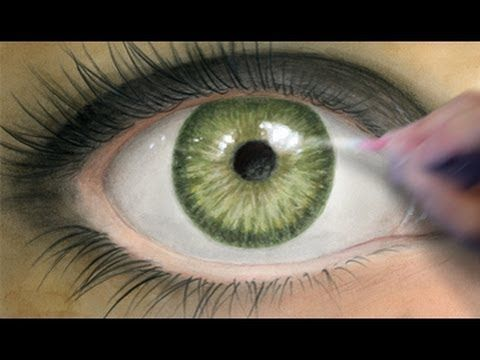 Coloring Tutorial: Realistic Eye. I like that he uses watercolor, color pencil, soft pastels, and gouache to achieve this realistic finish.