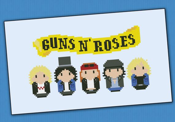 Guns N' Roses rock band  PDF cross stich pattern by cloudsfactory