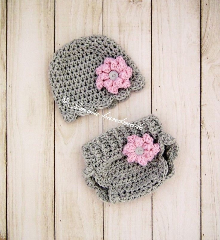 Crochet diaper cover set - hat and diaper cover for baby girl, for Newborn to 12 Months, Great for photo prop or baby shower gift! by Amaiahandmade on Etsy