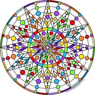 Rainbow star mandala- blank version available to color