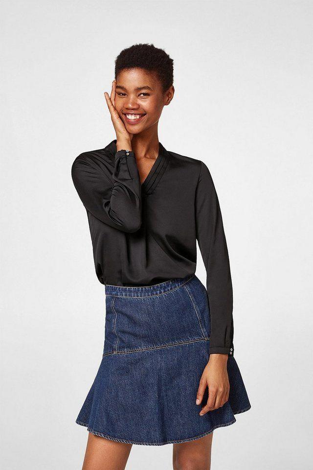 Esprit Collection Fließende Bluse mit Biesen-Ausschnitt | Pinterest ...