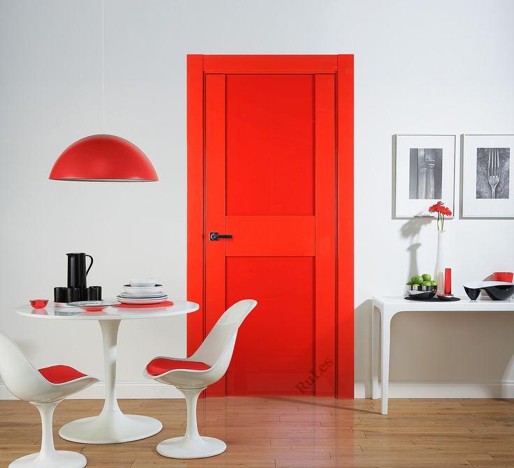 """Дверь """"Импреза"""" в отделке """"красная эмаль высокий глянец"""", стекло  """"Триплекс красный"""". Наличник """"Квадратный"""" 100 мм. #двери #межкомнатные #интерьер #русский_лес #interior"""