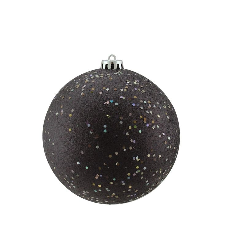 Shatterproof Jet Black Holographic Glitter Christmas Ball Ornament 6 (150mm)