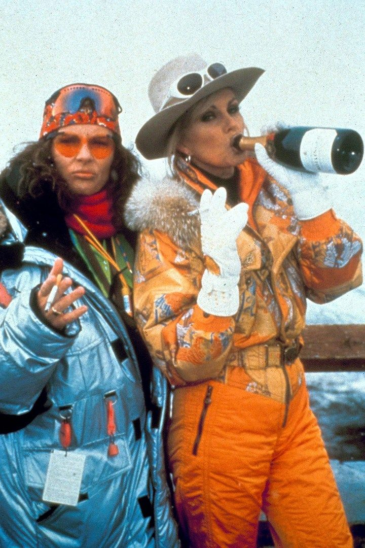 Jennifer Saunders and Joanna Lumley skiing - Absolutely Fabulous