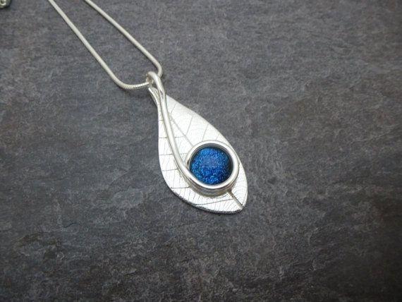 Deep Blue Dichroic Glass in Silver Leaf by JewellerySilverStone
