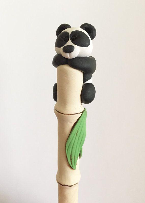 Panda de arcilla de polímero bolígrafo por handmademom en Etsy