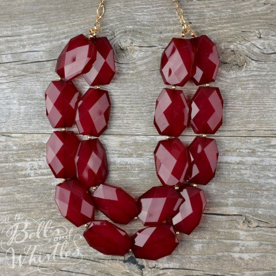 The Genevieve Double Layer Gem Chunky Statement Necklace in Cranberry Maroon Dark Red Bridal Wedding Jewelry