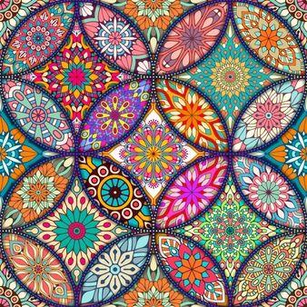 Colorido fondo con diferentes mandalas