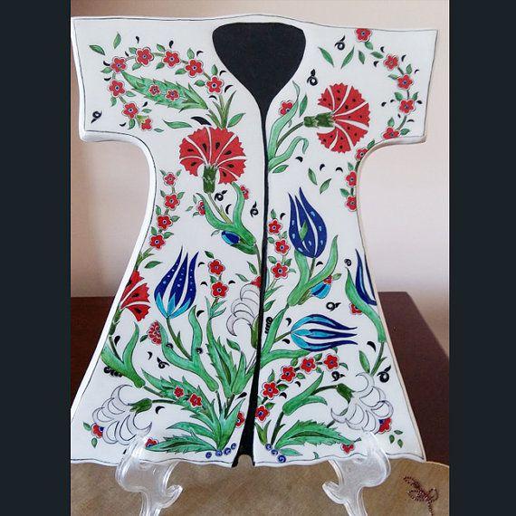 Turkish ottoman handmade iznik tile caftan tulip by nurceramicarts