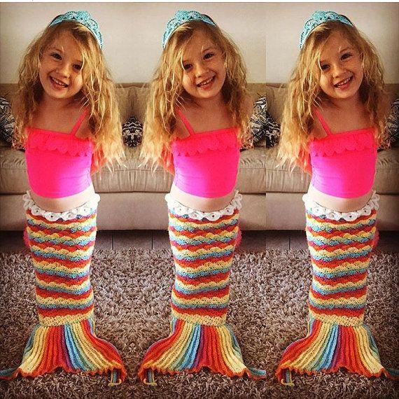 Crochet niños de sirena cola - hilo brillante arco iris - arco iris, manta de sirena, sirena foto apoyo, traje de sirena, orden de encargo