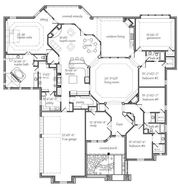 Really Like This Plan Get Rid Of Master Sitting Room Don T Want 3 Full Bathrooms Add A Powder Room Near Texas House Plans House Plans One Story House Plans