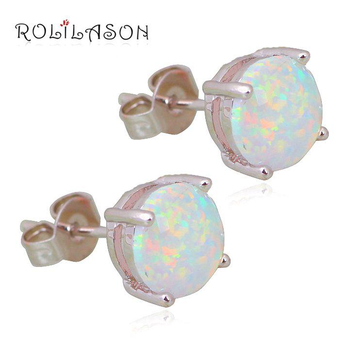 Wholesale & Retail Simple style White Fire Opal 925 sterling Silver Stamped Stud Earrings Fashion Jewelry Opal Jewelry OE118