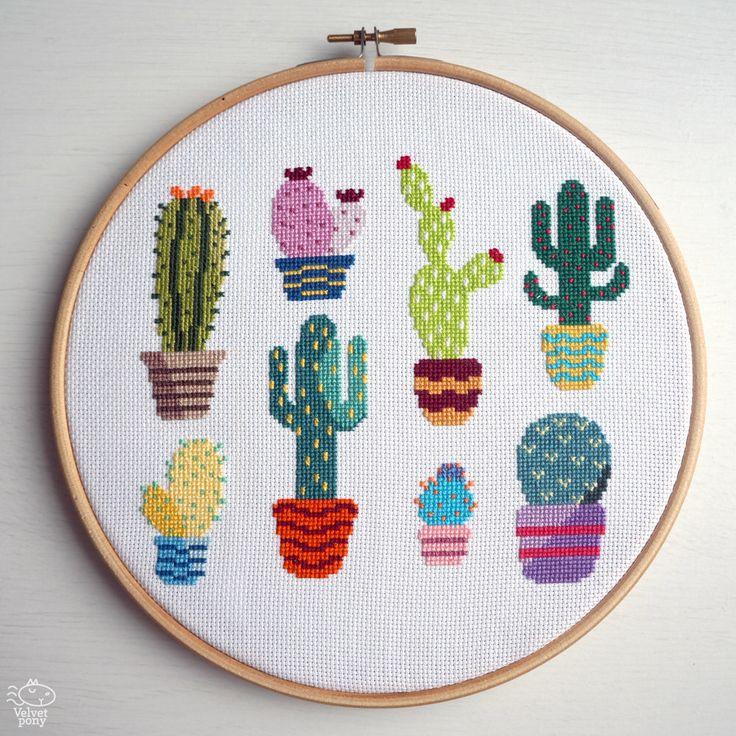 Cactus Modern Cross Stitch Pattern PDF - Instant Download. Cute Cross Stitch. Succulents Counted Cross Stitch Chart. Cacti Plants Design par VelvetPonyDesign sur Etsy https://www.etsy.com/fr/listing/280759906/cactus-modern-cross-stitch-pattern-pdf