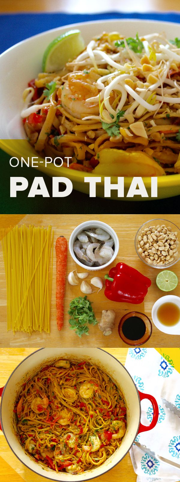 This one-pot pad Thai might be easy to make, but it's certainly not boring. It's filled with lots of flavor!