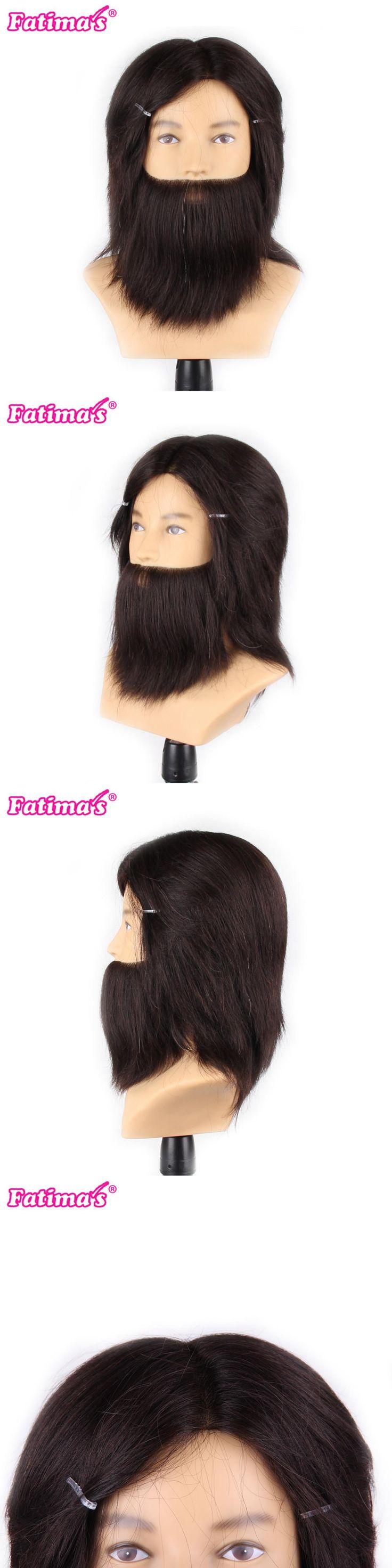 Fatimas 100% Real Animal Hair Hairdressing Training Head Mannequin Head Hair Cut Salon Practice Model