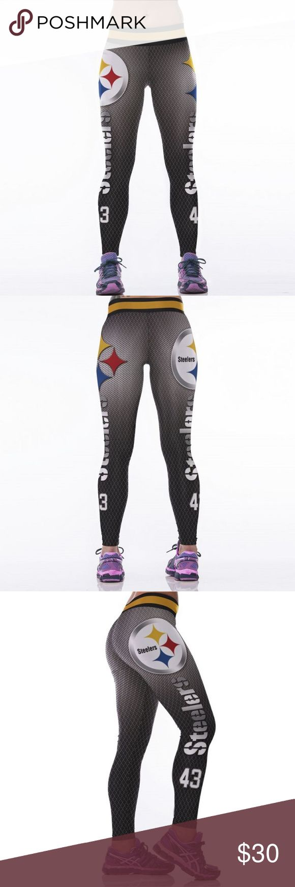 Pittsburgh Steelers NFL Leggings Yoga Pants Root for your favorite team in these high quality NFL leggings! Perfect wardrobe addition while watching Sunday football games. The vivid colors and designs are sure to turn heads! Get a pair now while they last to show your team support every week as they inch their way to the glorious Super Bowl Condition: Brand New in Packaging Material: Spandex / Polyester Measurements:  (Length / Waist / Hip) S/M: 36 / 27.5-37 / 33-41.5 L/XL: 36.5 / 30–39.5…