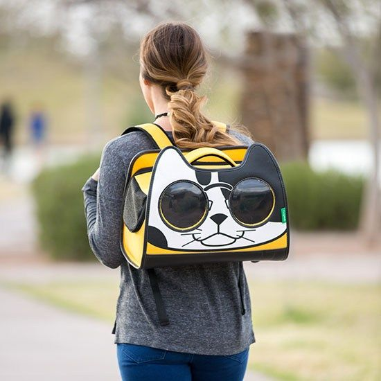 backpack cat carrier - Adorable cartoon kitten & sunglasses make the pet carrier windows.  Travel with a cat, cat stuff, cute cats, cute cats, black cat, white cat, cat lady humor, lol cats, cat lover gifts, meow, kawaii fashion, unique purses.