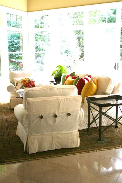 Custom Slipcovers by Shelley: May 2012 Hilary's friend Shelley is so talented, I love her style of slipcovers, Amazing!