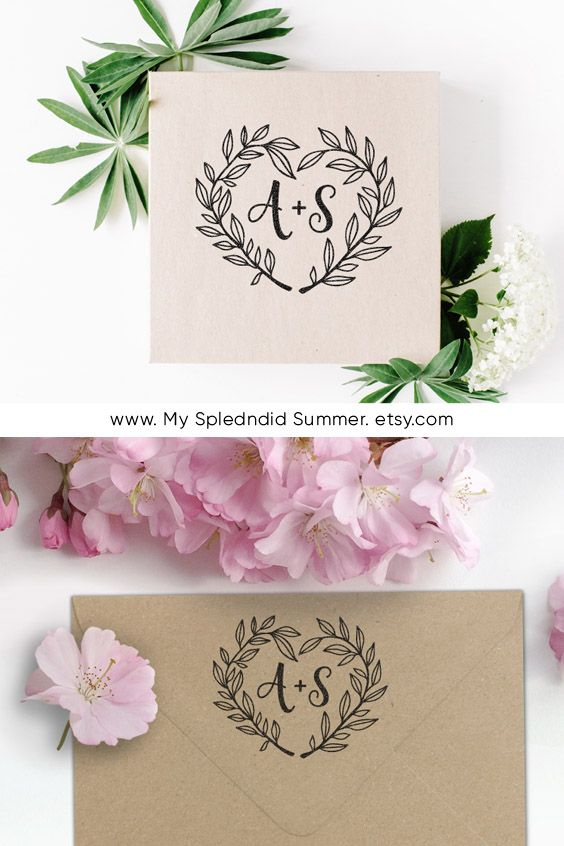 Custom Wedding Stamp Heart Shaped Monogram Save The Date Rubber And Self Inking In 2018 Stamps Pinterest