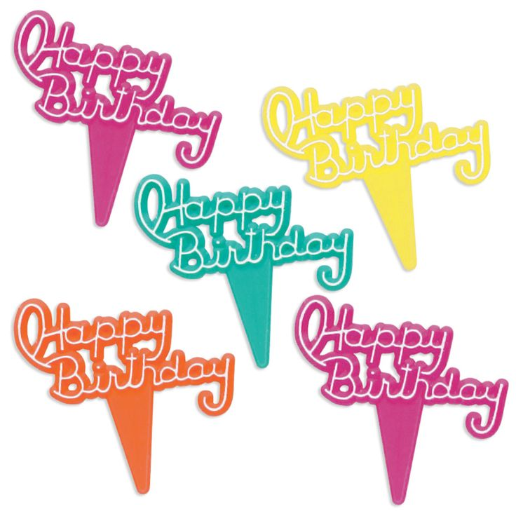 """- Happy Birthday Picks - Festive and retro happy birthday picks perfect for birthday cupcakes and sweets! - Assortment of hot pink, turquoise, salmon and yellow. - 1""""(2.5cm) wide + 1""""(2.5cm) pick - Pa"""