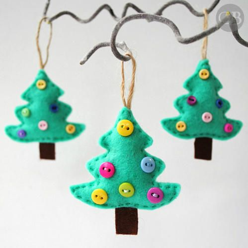 These little buttons make for the perfect-sized decoration on small felt Christmas trees. Get the tutorial at Buddly Crafts » - GoodHousekeeping.com