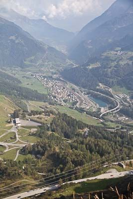 Driving the old Gotthard pass route is a lot more interesting than passing through the tunnel in summer, when two hour delays are frequent.