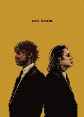 pulp fiction jules vince travolta jackson tarantino digital illustration