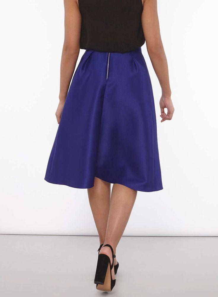 Womens Cobalt Satin Full Skirt- Cobalt