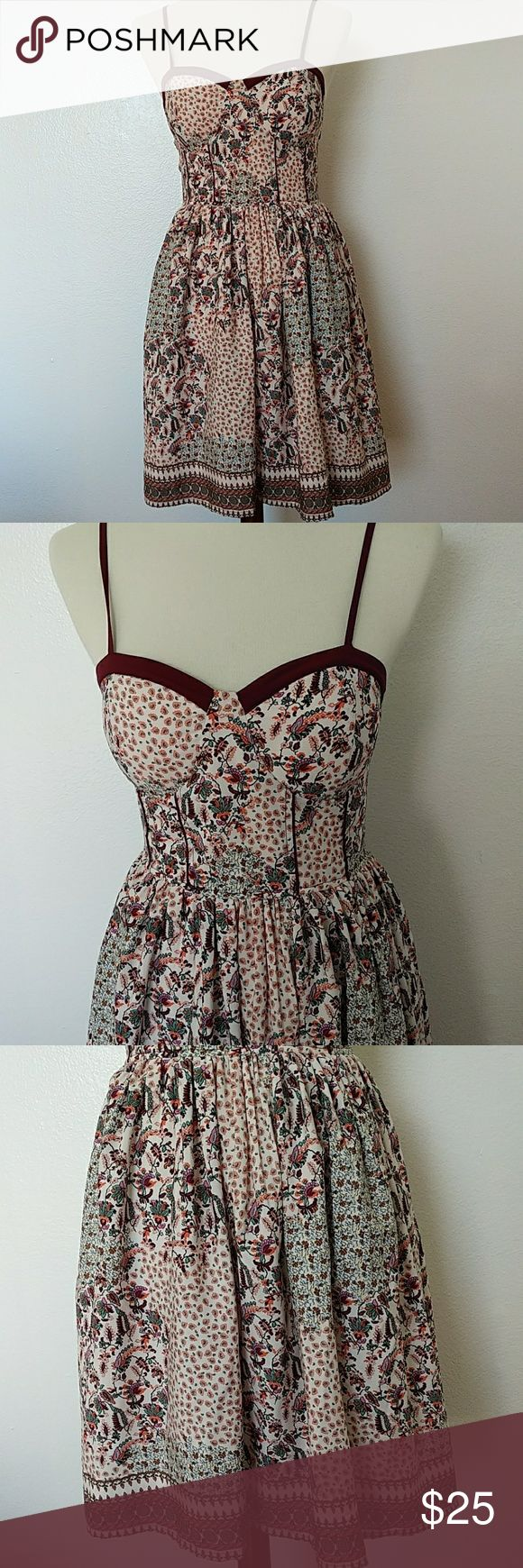"NWOT American Rag mini dress Gorgeous mini floral dress, strap adjustable,pit to  pit 19"",back is strechy American Rag Dresses Mini"