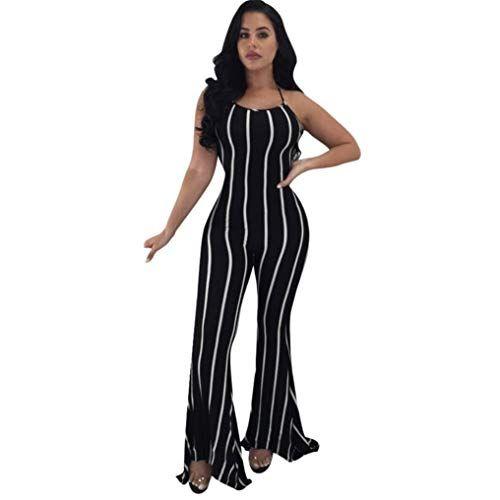 Overall Damen Elegant Lang Fashion Vintage Gestrei…