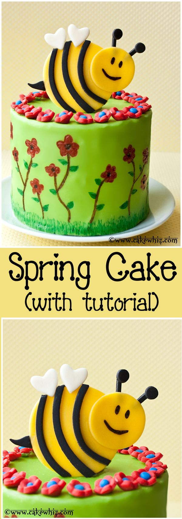 Spring themed cake with a bumblebee topper and flowers! So cute and great for parties! From cakewhiz.com