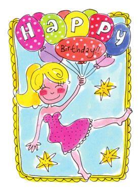 Zwevend meisje met verjaardagsballonnen