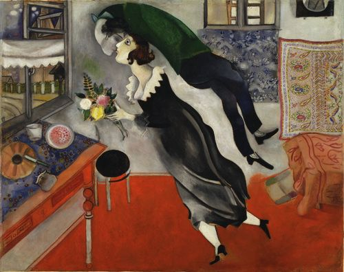 'Birthday' by Marc Chagall 'Birthday' by Marc Chagall.     All of his Chagall's work, represent the view of life, love, family and a tremendous illustration of his unique style, fancy, naïve, like a beautiful dream.