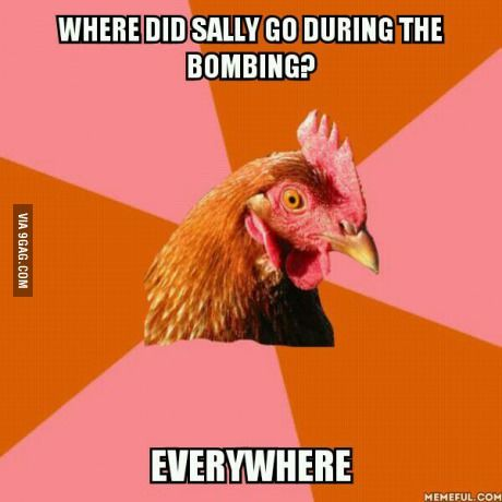 anti joke chicken, sally bombing everywhere