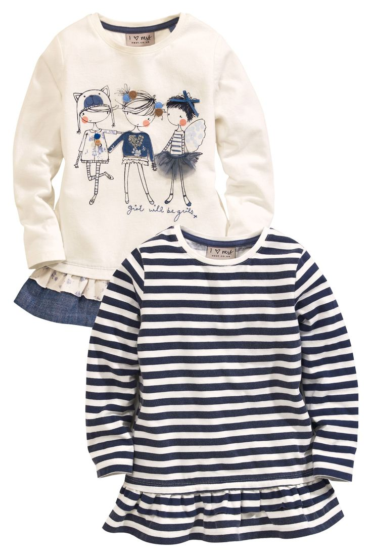 Buy Embellished Girls And Stripe Tunics Two Pack (3mths-6yrs) from the Next UK online shop